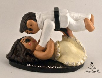 Bride And Groom Jiu Jitsu Wedding Cake Topper