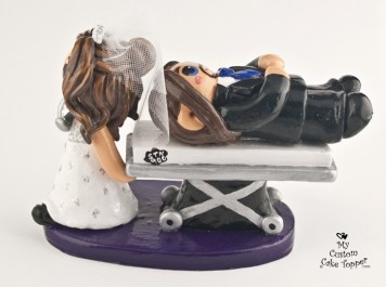 Bride Medic With Groom On Stretcher Cake Topper