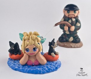 Mermaid Bride And Fisherman Groom With Dogs Cake Topper