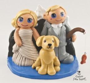 Bride And Groom With Mountain And Dog Cake Topper