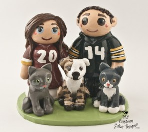 Bride And Groom With Pets In Jerseys Cake Topper
