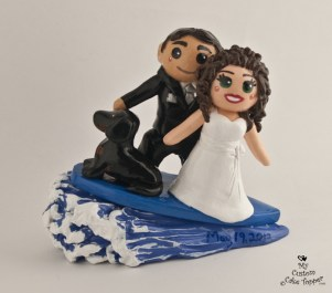 Bride And Groom Surfing Cake Topper