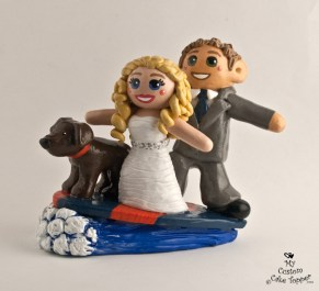 Bride And Groom Surfing With Dog Cake Topper