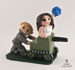 Bride Riding Grooms Home Made Tank Cake Topper