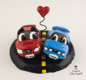 Mustang Cars in Love Wedding Cake Topper