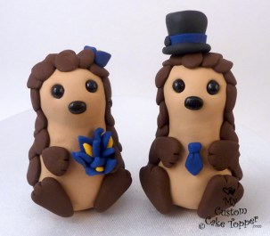Cute Hedgehogs Cake Topper
