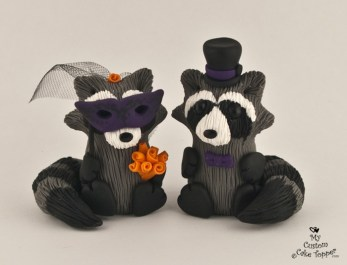Cute Raccoons with Mask Cake Topper