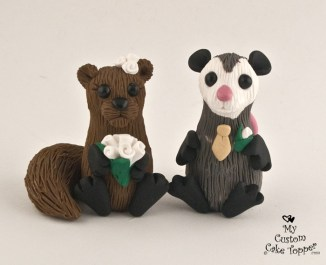 Cute Squirrel and Opossum Cake Topper