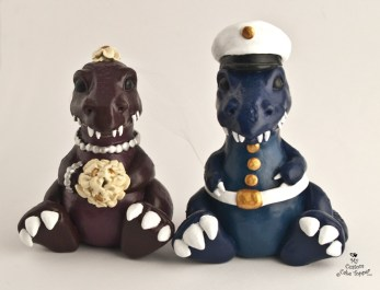 Dinosaurs In Love Wedding Cake Topper