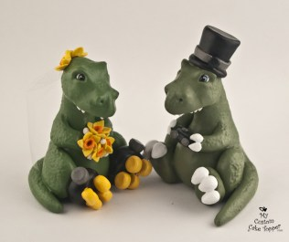 Dinosaurs T-Rex Bride and Groom Game Controller Cake Topper