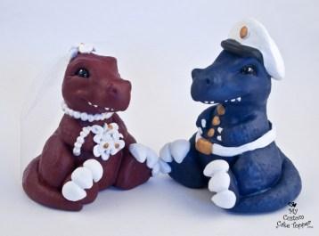Dinosaurs T-rex Sitting Wedding Cake Topper