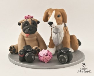 Beagle and Pug with Cameras Cake Topper