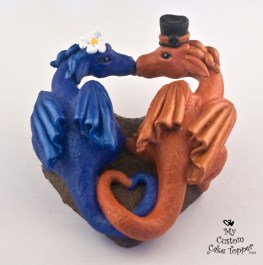 Dragon Love Heart Wedding Cake Topper