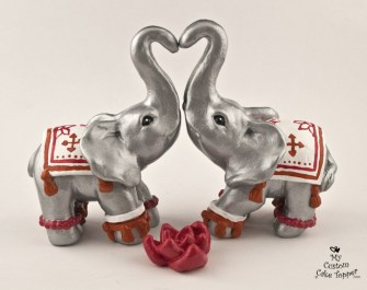 Elephants Decorated Silver Wedding Cake Topper