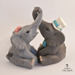 Elephants Entwined Custom Wedding Cake Topper