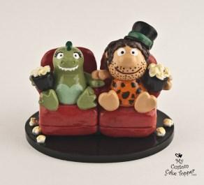 Godzilla And Caveman Watching Movie Cake Topper