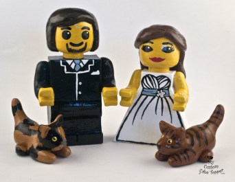 Lego Couple With Cats Bride and Groom