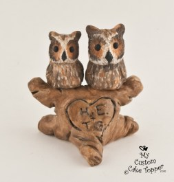 Great Horned Owls In A Tree Wedding Cake Topper