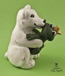 Polar Bear Kissing Frog Prince Cake Topper