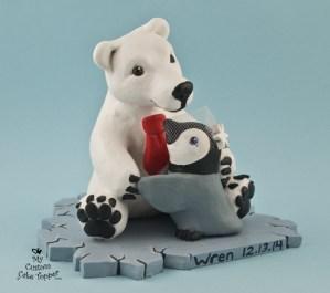 Polar Bear and Penguin on an Ice Berg Cake Topper