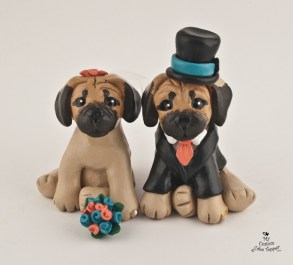 Puggles Wedding Cake Topper