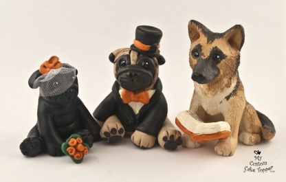 Pugs in Black and Fawn and a Minister Shepherd