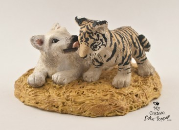 Wolf and Tiger Cub Custom Wedding Cake Topper