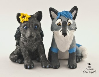 Wolf and Fox Characters Cake Topper