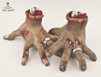 Bride and Groom Zombie Hands Cake Topper