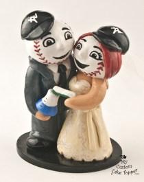 Baseball Bride and Groom Cake Topper