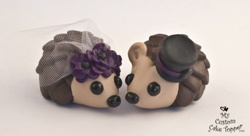 Hedgehogs with Purple Poppies