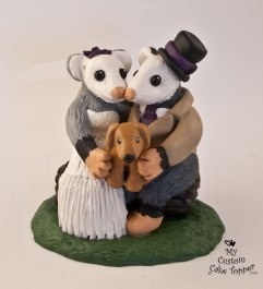 Opossums on a Log Custom Wedding Cake Topper
