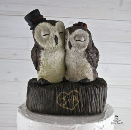 Realistic Barn Owls Wedding Cake Topper