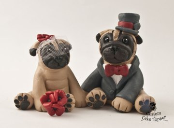 Pug Dogs in Red and Grey Custom Wedding Cake Topper