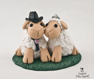Sheep Love with a Cowboy Hat Wedding Cake Topper