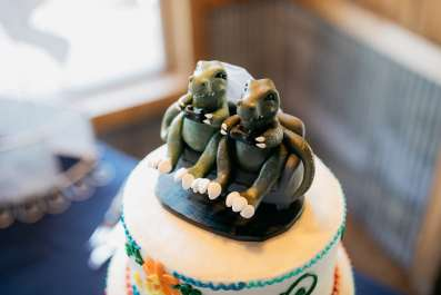 Alfredo's Dinosaur Trex Playing Video Games wedding Cake Topper