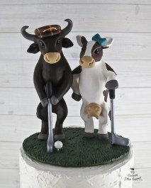 Bull and Cow Golfing Wedding Cake Topper