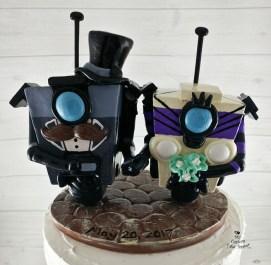 Claptrap Bride and Groom Gentleman Mustache Borderlands Wedding Cake Topper