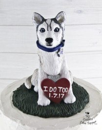 Dog Husky Realistic Pet Portrait Cake Topper