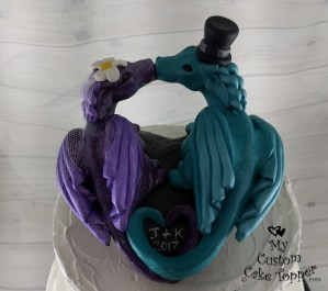 Dragons in Purple and Cyan Cake Topper