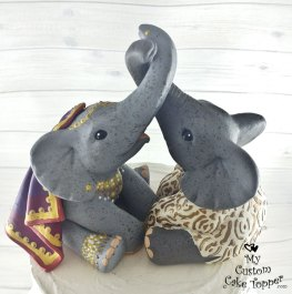 Elephants Love Traditional East Indian Attire Custom Wedding Cake Topper 2