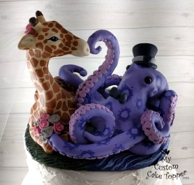 Giraffe and Octopus Realistic Wedding Cake Topper