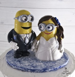 Minions Bride and Groom Snow Winter Wedding Cake Topper