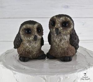 Realistic Barn Owls Sitting Cake Topper
