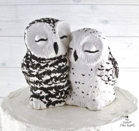 Realistic Snowy Owls Wedding Cake Topper