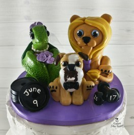 Turtle, Lion and Dog Cartoon Cake Topper