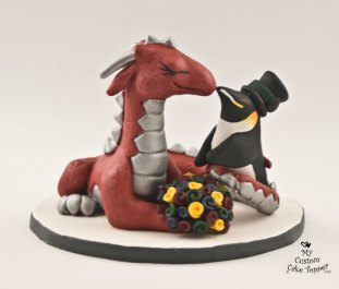 Dragon And Penguin Custom Wedding Cake Topper