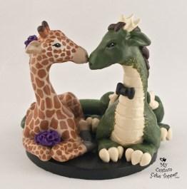 Dragon and Giraffe Custom Wedding Cake Topper