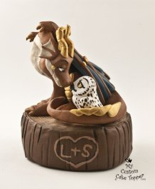 Dragon and Owl on a Tree Stump Steam Punk