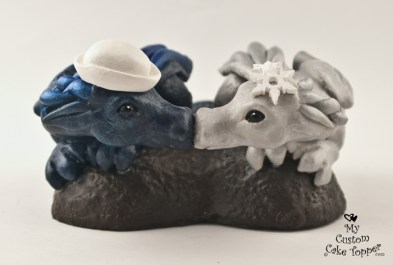 Dragons in a Heart Silver and Blue Winter